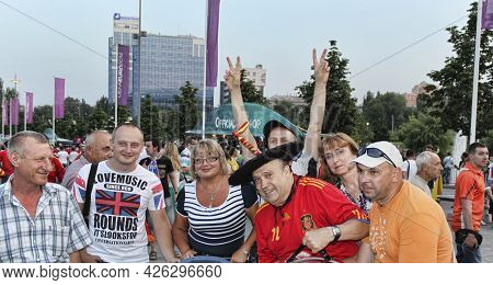 Donetsk, Ukraine - June 23, 2012: Football Brings People Together! Fans Of Different Countries Befor