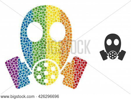 Gas Mask Collage Icon Of Round Dots In Variable Sizes And Spectrum Colored Color Tones. A Dotted Lgb