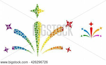 Salute Fireworks Collage Icon Of Filled Circles In Variable Sizes And Rainbow Colored Color Tinges.