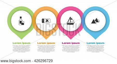 Set Whiskey Bottle And Glass, Airline Ticket, Yacht Sailboat And Egypt Pyramids. Business Infographi