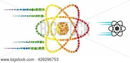 Rush Atom Composition Icon Of Spheric Dots In Variable Sizes And Rainbow Colored Color Hues. A Dotte