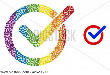 Vote Tick Composition Icon Of Circle Elements In Various Sizes And Rainbow Colorful Color Tones. A D