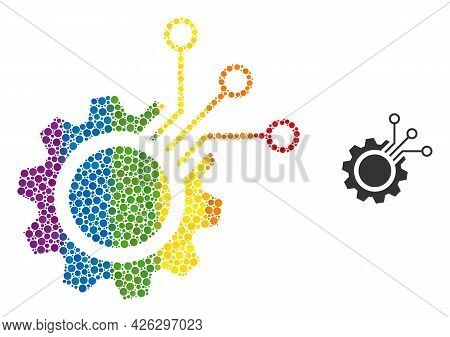 Electronic Gear Composition Icon Of Round Dots In Various Sizes And Rainbow Colored Color Hues. A Do