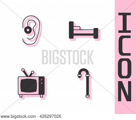 Set Walking Stick Cane, Hearing Aid, Retro Tv And Bed Icon. Vector
