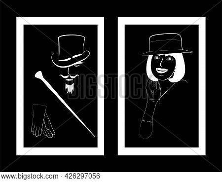 Icon For Toilet. Lady And Gentleman, Wc Simbol In Frame. Black And White Restroom Icon. Retro Sings
