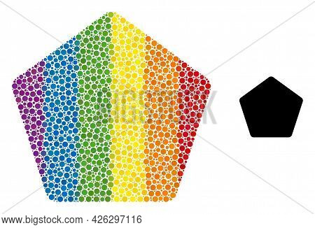 Rounded Pentagon Composition Icon Of Circle Elements In Various Sizes And Spectrum Color Tints. A Do