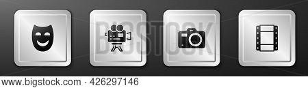 Set Comedy Theatrical Mask, Retro Cinema Camera, Photo And Play Video Icon. Silver Square Button. Ve