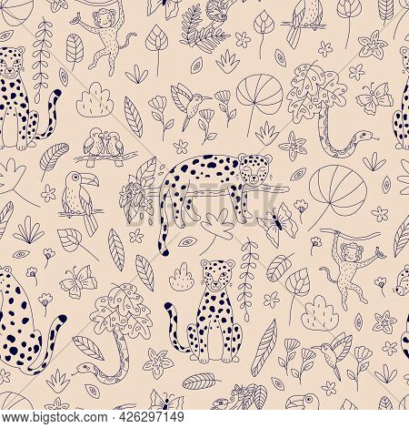 Seamless Pattern With Outline Rainforest Animals, Birds And Exotic Plants On Pink Background. Hand D