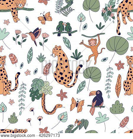 Seamless Pattern With Cute Jungle Animals. Rainforest Exotic Plants And Flowers. Doodle Cartoon Leop