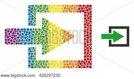 Import Arrow Composition Icon Of Round Items In Variable Sizes And Spectrum Colored Color Tinges. A