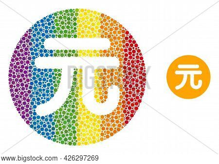 Chinese Yuan Coin Composition Icon Of Round Dots In Different Sizes And Rainbow Colorful Color Tones