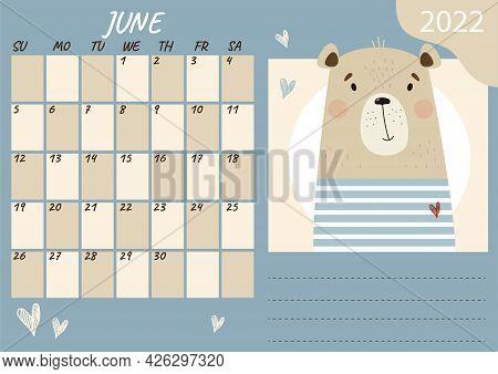 June 2022 Planner Calendar Template. Cute Bear Sailor In A Striped Vest. Vector Illustration. Week F