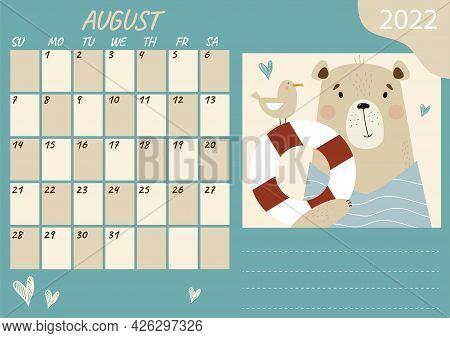 Planner Calendar Template For August 2022. Cute Bear Sailor With Seagull And Lifebuoy. Vector Illust