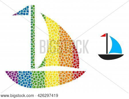 Sail Boat Collage Icon Of Round Items In Variable Sizes And Spectrum Color Tints. A Dotted Lgbt-colo