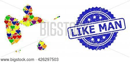 Blue Rosette Scratched Stamp With Like Man Title. Vector Mosaic Lgbt Map Of Guadeloupe With Love Hea