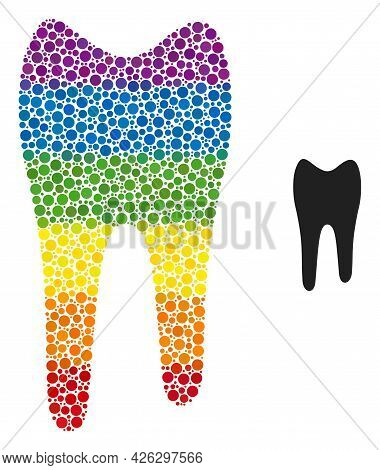 Tooth Collage Icon Of Spheric Blots In Different Sizes And Rainbow Color Tints. A Dotted Lgbt-colore