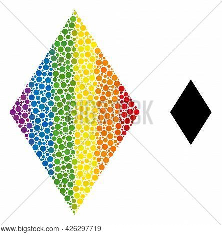 Rhombus Mosaic Icon Of Circle Spots In Different Sizes And Rainbow Colored Color Hues. A Dotted Lgbt