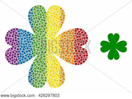 Four Leaf Clover Mosaic Icon Of Spheric Dots In Variable Sizes And Rainbow Colored Color Hues. A Dot