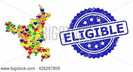 Blue Rosette Scratched Watermark With Eligible Phrase. Vector Mosaic Lgbt Map Of Haryana State With