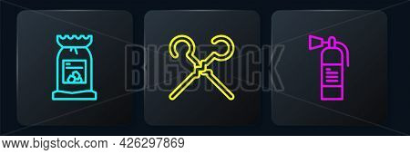 Set Line Barbecue Coal Bag, Fire Extinguisher And Bbq Skewers. Black Square Button. Vector