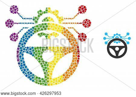 Car Autopilot Scheme Collage Icon Of Round Dots In Various Sizes And Rainbow Multicolored Color Hues