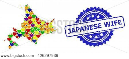 Blue Rosette Rubber Seal Imprint With Japanese Wife Phrase. Vector Mosaic Lgbt Map Of Hokkaido Islan