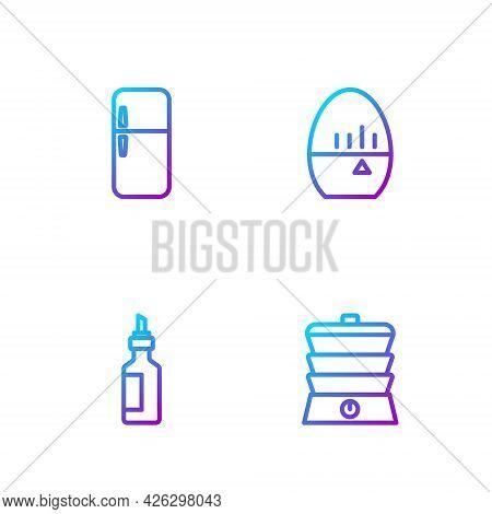 Set Line Slow Cooker, Bottle Of Olive Oil, Refrigerator And Kitchen Timer. Gradient Color Icons. Vec