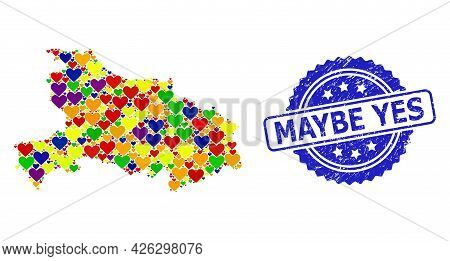 Blue Rosette Distress Stamp With Maybe Yes Caption. Vector Mosaic Lgbt Map Of Hubei Province From Lo