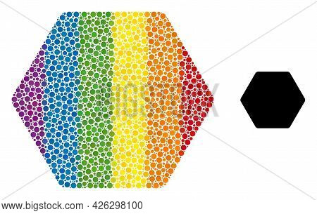 Rounded Hexagon Mosaic Icon Of Filled Circles In Various Sizes And Rainbow Multicolored Color Tinges