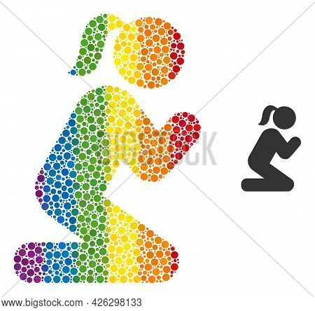 Praying Girl Composition Icon Of Round Dots In Various Sizes And Rainbow Multicolored Color Hues. A