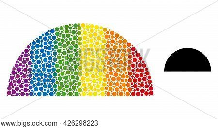 Semisphere Collage Icon Of Filled Circles In Variable Sizes And Rainbow Color Tinges. A Dotted Lgbt-