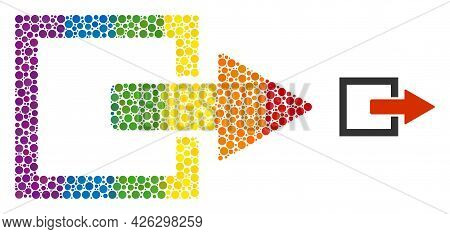 Export Arrow Composition Icon Of Filled Circles In Variable Sizes And Rainbow Color Tints. A Dotted