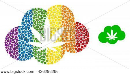 Cannabis Smoke Mosaic Icon Of Spheric Blots In Variable Sizes And Spectrum Multicolored Color Tones.