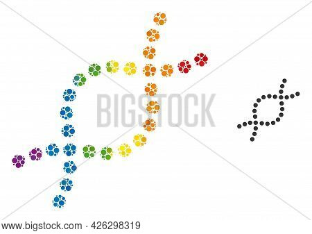 Genetic Spiral Collage Icon Of Filled Circles In Different Sizes And Rainbow Colored Shades. A Dotte