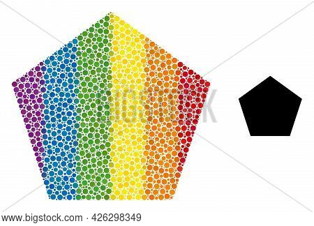 Pentagon Collage Icon Of Spheric Blots In Different Sizes And Rainbow Colored Color Hues. A Dotted L