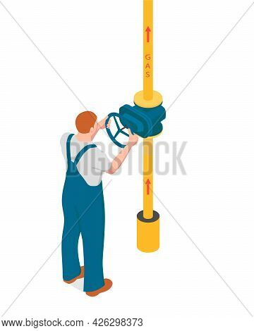 A Man Is Turning The Valve Gas Pipe. Redhead Man Is Using A Valve To Open The Gas Supply.