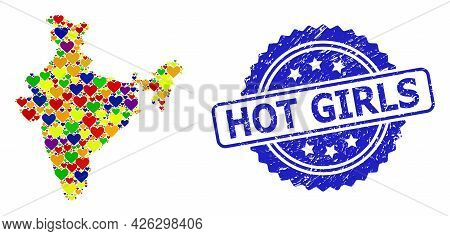 Blue Rosette Textured Seal Stamp With Hot Girls Title. Vector Mosaic Lgbt Map Of India From Hearts.