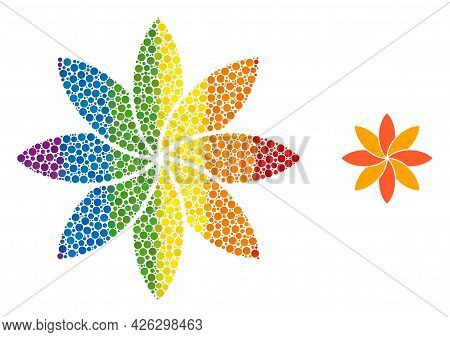 Flower Collage Icon Of Round Dots In Different Sizes And Spectrum Color Tints. A Dotted Lgbt-colored