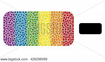 Rounded Rectangle Collage Icon Of Circle Elements In Different Sizes And Rainbow Color Tinges. A Dot