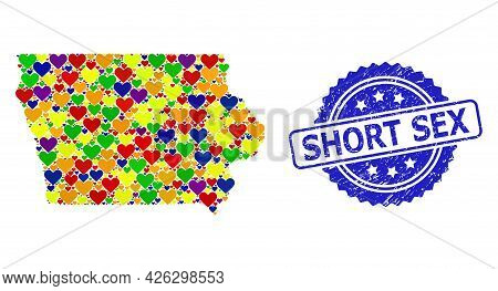 Blue Rosette Scratched Seal Stamp With Short Sex Caption. Vector Mosaic Lgbt Map Of Iowa State With