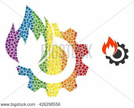 Hot Gear Composition Icon Of Spheric Blots In Different Sizes And Rainbow Color Tints. A Dotted Lgbt
