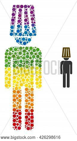 Idiot Man Mosaic Icon Of Filled Circles In Various Sizes And Spectrum Bright Color Tints. A Dotted L
