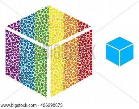 Sugar Cube Collage Icon Of Spheric Dots In Various Sizes And Rainbow Colored Color Tinges. A Dotted