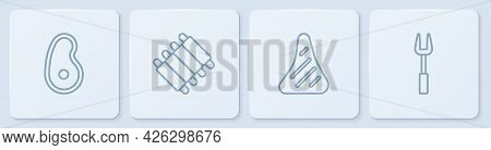 Set Line Steak Meat, , Grilled Pork Bbq Ribs And Barbecue Fork. White Square Button. Vector
