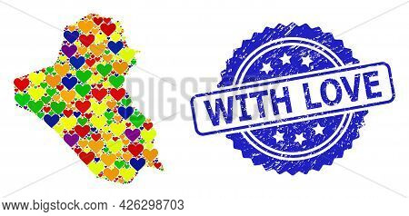 Blue Rosette Grunge Stamp With Love Message. Vector Mosaic Lgbt Map Of Iraq With Love Hearts. Map Of