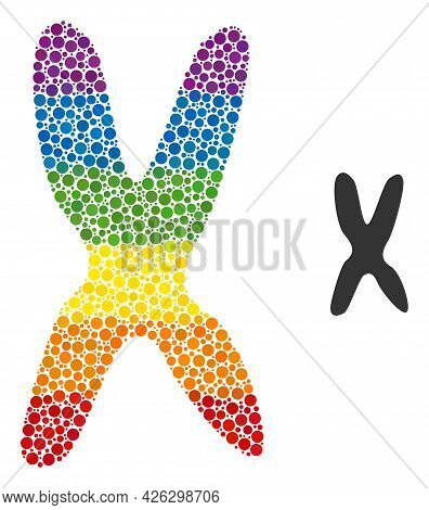 Chromosome Collage Icon Of Round Items In Different Sizes And Rainbow Color Tints. A Dotted Lgbt-col