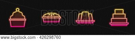Set Line Jelly Cake, Cake, Homemade Pie And . Glowing Neon Icon. Vector