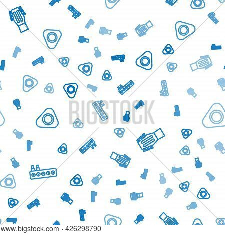 Set Line Sound Mixer Controller, Guitar And Pick On Seamless Pattern. Vector