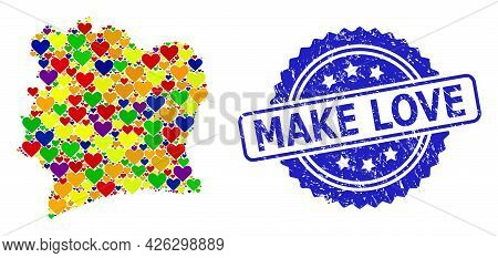 Blue Rosette Scratched Seal Imprint With Make Love Title. Vector Mosaic Lgbt Map Of Ivory Coast With