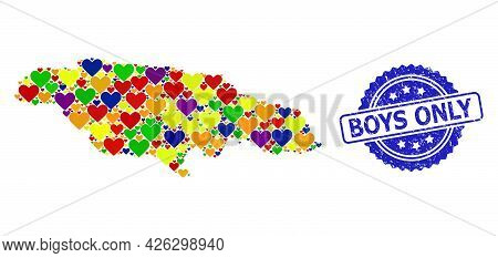 Blue Rosette Textured Seal Imprint With Boys Only Caption. Vector Mosaic Lgbt Map Of Jamaica With He